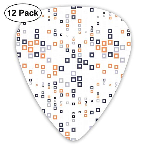 Guitar Picks12pcs Plectrum (0.46mm-0.96mm), Digital Hightech Style Fractal Square In Various Size Urban,For Your Guitar or Ukulele