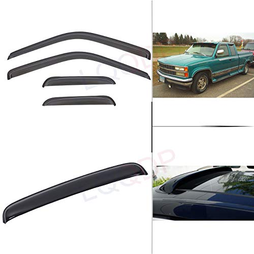 LQQDP Set of 5 Combo Smoke Tape-On Moon Roof Shield+Sun/Rain Guard Outside Mount Window Visors For 88-00 Chevy/GMC C10 C1500/C2500/C3500/K1500/K2500/K3500 Pickup Extended Cab With Half Size Rear Doors