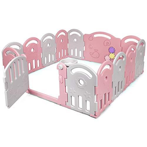 COSTWAY Laufgitter mit Musikbox und Basketballkorb, Baby Laufstall mit Spielzeugboard, Absperrgitter aus Kunststoff, Krabbelgitter für Kinder, Schutzgitter (Rosa, 14-Paneelen)