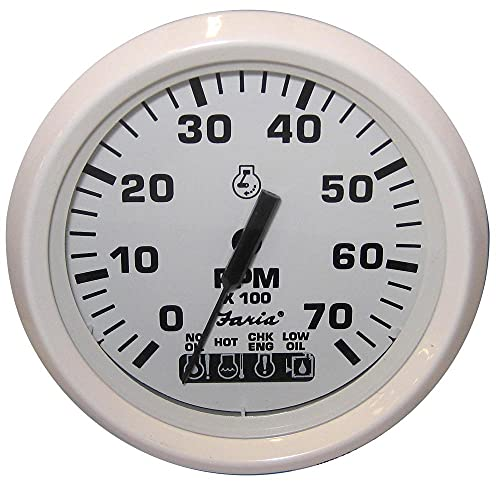 "Faria Dress White 4"" Tachometer w/Systemcheck Indicator - 7,000 RPM (Gas - Johnson/Evinrude Outboard) (54665)"