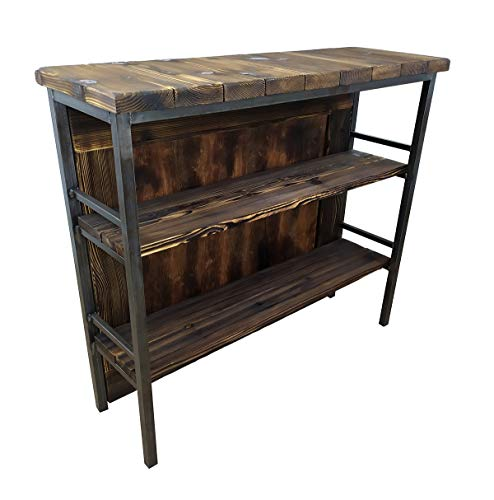 CHYRKA® Bartisch Stehtisch Barhocker Barstuhl BarMöbel SAMBOR Loft Vintage Bar Industrie Design Handmade Holz Metall (THEKE -120 cm) - 3