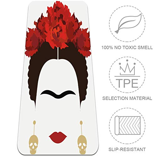 DJROWW Yoga Mat Frida Portret Met Schedel Oorbellen Natuurlijke Pilates Oefening Mat Eco Vriendelijke Gym Mat Dikte 1/4