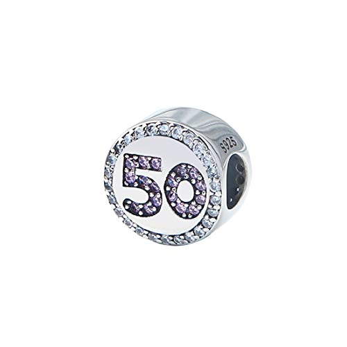 FeatherWish Celebration Happy Birthday 925 Sterling Silver Round Beads Charm With Clear And Pink Cubic Zirconia Fits Pandora Bracelet Or Necklace 16 18 21 30 40 (50th)
