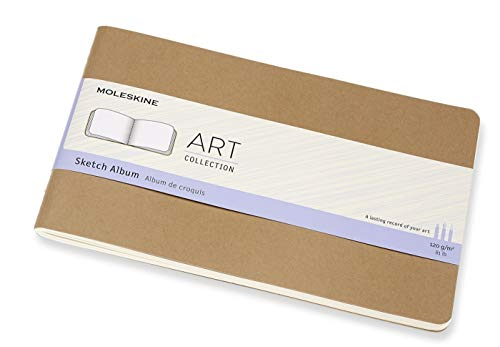 Moleskine Art Cahier Sketch Album, Hard Cover, Large (5' x 8.25') Plain/Blank, Kraft Brown, 88 Pages