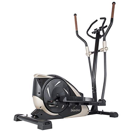 skandika Adrett/Elegance - Vélo elliptique Crosstrainer - Bluetooth - Appli - 15 Prog - 32 Niveaux de résistance - Inertie 12 kg - Max. 130 kg (Adrett (Noir/Or))
