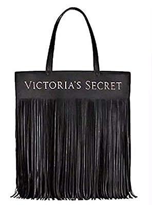 Victoria's Secret Logo Flirty Fringe Tote Bag Black