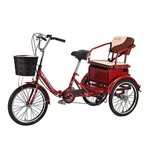 WGYDREAM Triciclo de Adultos Triciclo Adulto Tres Ruedas Bicicleta Red 6 Velocidad...