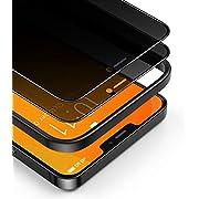 BANNIO 2 Pezzi Pellicola Privacy Compatibile con iPhone 12/iPhone 12 Pro,Curva 3D Full Screen Vetro Temperato,Anti Spy Pellicola Protettiva Copertura Totale Protezione Schermo