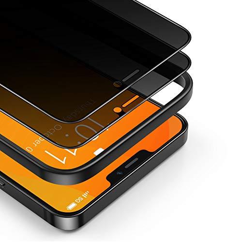 BANNIO 2 Stück für Panzerglas Sichtschutz Kompatibel mit iPhone 12/iPhone 12 Pro,3D Full Screen Privacy Panzerglasfolie Schutzfolie,Glas Blickschutzfolie Anti-Spy Folie Displayschutzfolie Sichtschutz