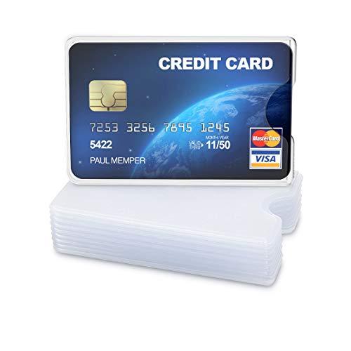 kwmobile 10x Funda protectora tarjeta de crédito y débito - Set de cubiertas de protección para tarjetas - Tarjetero individual - Transparente mate