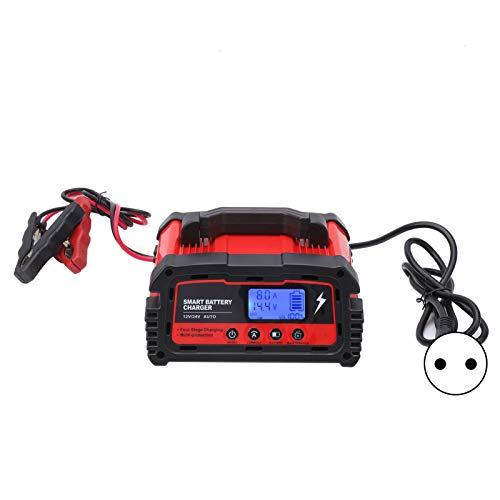 Cargador de batería para automóvil, carga rápida ajustable de 5A / 10A / 20A de 3 velocidades para varias baterías, arranque portátil de 0 V, cargador lento para batería AC-300W12V24V / (EU PLUG)