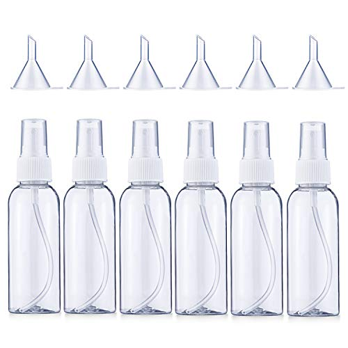 Bligo 6×100ml Transparente Leer Feinen Nebel Sprühflasche, Tragbares Reiseflaschen Set mit 6 Trichter, Zerstäuber Sprayflasche, Parfumzerstäuber, Atomiser