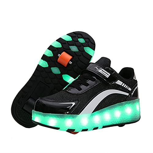 Zapatillas con Ruedas Niña Niño Zapatos con Ruedas y Luces LED Luminosas Flash Rueda Patines Deportivo al Aire Libre Gimnasia Running Niños Zapatos de Skateboard con USB Carga 🔥