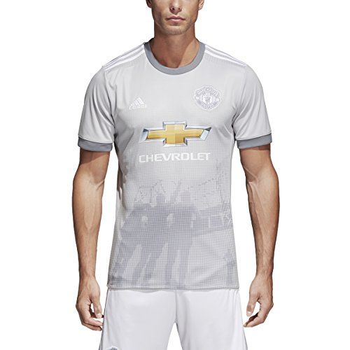 adidas Mens Manchester United Replica Third Jersey (X-Large) Solid Grey / White / Grey