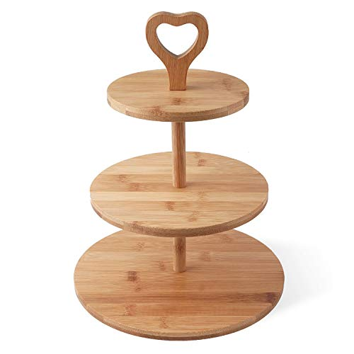 Joyeee Cupcake Stand 3 Tier Bamboo Cake Plate Stand Dessert Display Dessert Platter Food Rack Serving Platter for Festival Party Birthday for Cakes Cupcakes Biscuits Muffins