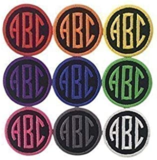 Custom Embroidered Name Tag Iron On Patch-Circle Monogram-Choose Patch Size And Thread Color!(1 Patch)