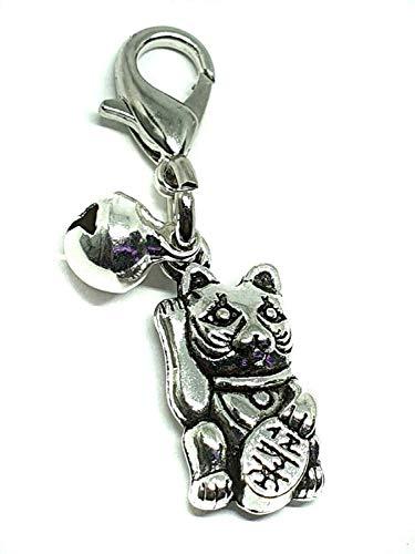 Eclectische winkel Uk Maneki Lucky kat bedeltje portemonnee tas huisdier kraag zilver bel heks metaal grote clip
