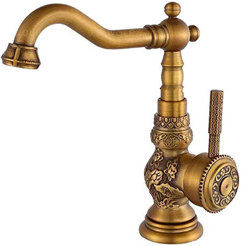 Mainstream home Traditioneller Lngere hohe Auslauf Tap Antique Messing Waschbecken Hahn gebürstetes Land-Art-Badezimmer Einhebelmischer Mixer drehen kann um 360 °