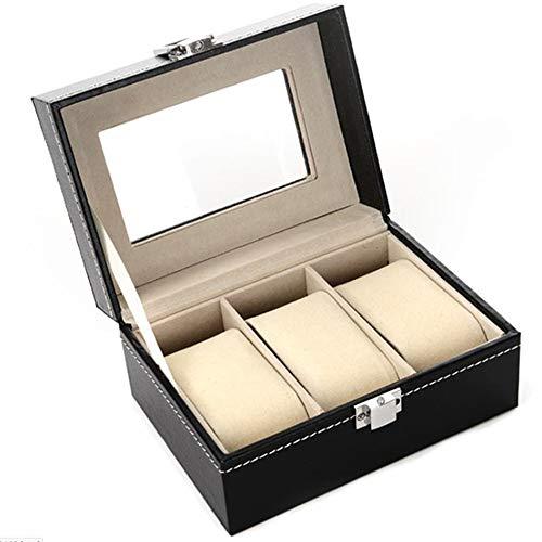 Xinlie Uhrenkoffer Uhrenbox Uhrenkasten für 3 Uhren Kasten Speicher mit Glasdeckel Schwarz aus PU-Leder auch für Schmuck oder Armbandkollektion usw Unisex