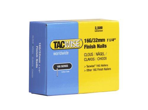 Tacwise 0294 Clous de Finition 16G/32 mm, Argent, Boîte de 2.500