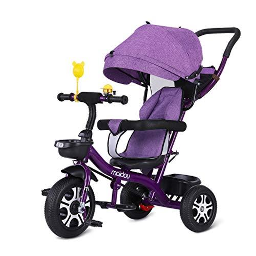 WENJIE Bicicleta Infantil Carretilla Bicicleta De Bebé Triciclo for Niños Cochecito De Bebé 1-3-6 Años Juguete Niño Niña (Color : Purple)