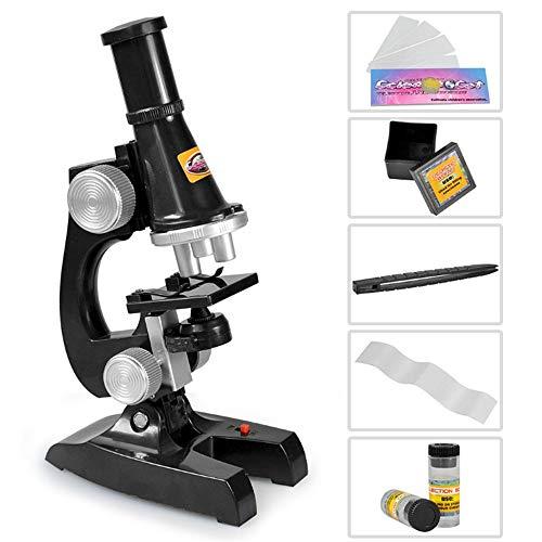 DLSMB Microscopio para Niños Lente de Vidrio óptico de Metal Inalámbrico LED Preescolar Preparación, Estudiante de biocompuesto de microscopio Juguetes de Educación Científica