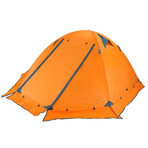 Azarxis 1 2 Person 3 4 Season Backpacking Tents Easy Set Up Waterproof Lightweight Professional Double Layer Aluminum Rod Tent for Camping Outdoor Hiking Travel (Orange (with Skirt Edge) - 3 Person)