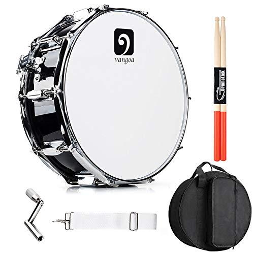 Vangoa Snare Drum 14 Zoll mit Ahornholz Trommel Hohlraum, 10 Tuning Schlüssel, Professionelles Snaredrums Set mit Praktische Anfänger Kits