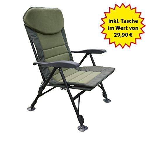 Nordmann® Karpfenstuhl KS1 mit Verstellbarer Rückenlehne, Campingstuhl, Angelstuhl, Gartenstuhl #93045