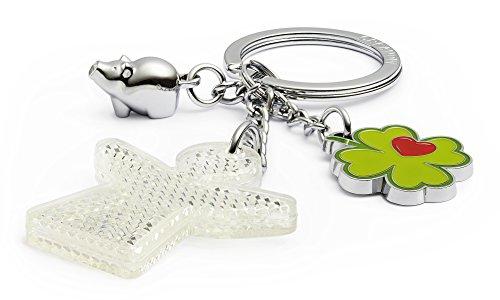 Creanow Schlüsselanhänger Gute Fahrt, mit reflektierendem Schutzengel, Glücksschwein, Kleeblatt mit Herz