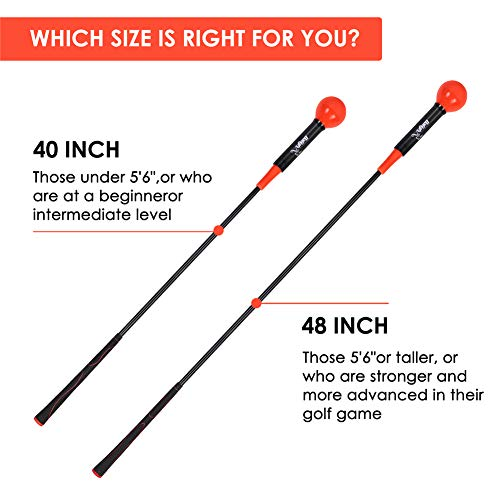 ESHOO Golf Swing Trainer Warm-Up Stick, Golf Swing Trainer Aid For Men and Women, Size 40/48 Inch