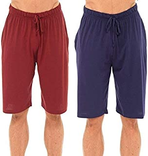 Best Deals Direct UK Mens Twin Pack Lounge Shorts Stretch Jersey Sleep Night Wear Pyjamas PJ Bottoms (4XL, Navy & red)