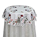 Creative Linens Holiday Embroidered Snowman and Christmas Tree Table Cloth 33' Round Topper White