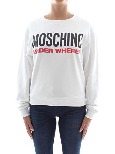 Moschino Unterwäsche Damen Weiß Logo Fleece Baumwolle Sweatshirt Top - Weiß - X-Klein