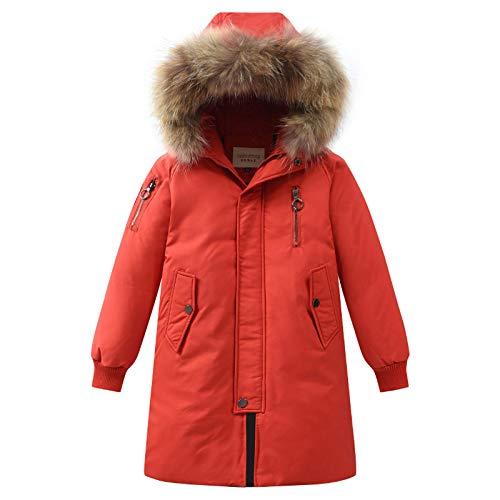 sunnymi Chaqueta de invierno para niños y niñas, de 4 a 14 años, con capucha, de plumón, abrigos, abrigo de invierno, cálido, con amortiguador, ropa exterior naranja 11-12 años