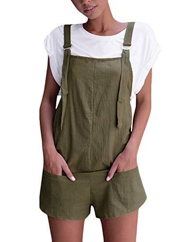 VONDA VONDA Damen Latzhose Retro Shorts Lässig Übergröße Jumpsuit Baggy Sommerhose Mit Tasche A-Armeegrün XXL