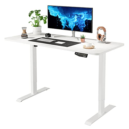 Flexispot EN1 Large Electric Stand Up Desk Computer Workstation 55 x 28 Inches Whole-Piece Desk Ergonomic Memory Controller Standing Height Adjustable Desk Top Base Primo(White Frame + 55' White Top)