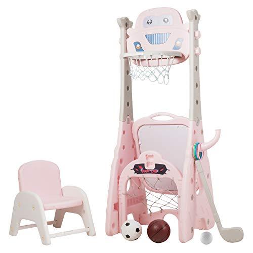 COSTWAY 6 in 1 Kinder Spielplatz mit Sitzhocker und Zubehör, höhenverstellbarer Basketballständer & Fußballtor & Wurfspiel & Golf & Maltafel & Dartscheibe, ideal für Kleinkinder (Rosa)
