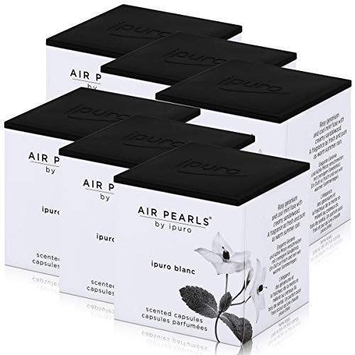 Air Pearls by ipuro - Cápsulas aromáticas (2 x 5,75 g, aroma de geranio y menta fresca fusionada con madera de sándalo cremosa (6 unidades)
