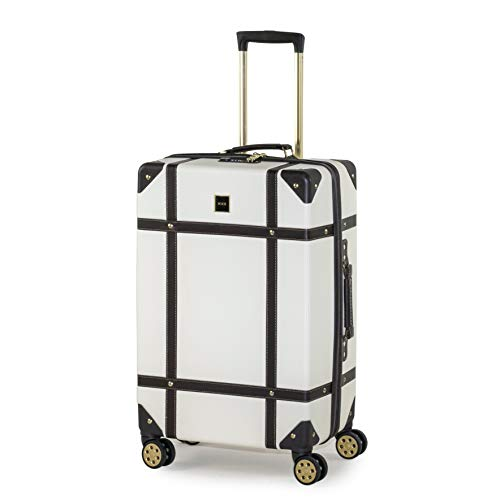 Rock Vintage Koffer Retro 8 Rollen Spinner Gepäck Weiß cremefarben M