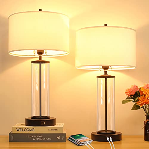 Modern Touch Control Dimmable Table Lamps with 2 USB Ports for Living Room Set of 2, 3-Way Dimmable Bedside Lamps with White Fabric Drum Shades for Reading Bedroom Nightstand Hotel, LED Bulbs Included