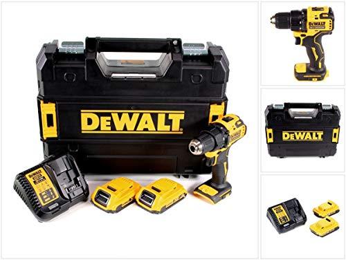DEWALT DCD708D2T-QW DCD708D2T-QW-Taladro Atornillador sin escobillas 18V con 2 baterías Li-Ion 2,0Ah, Nero/Giallo
