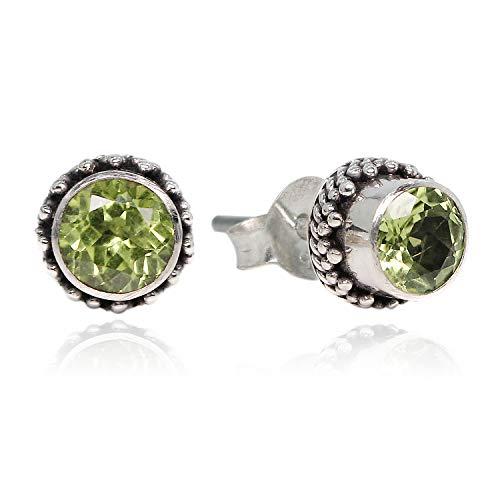 Luna Azure Olivin Peridot Edelstein Grün 925 Sterling Silber Ohrringe Ohrstecker - 5 Optionen (JJ02PN007)
