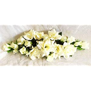 Cream/Ivory Swag Silk Roses Artificial Flowers Fake Wedding Arch Table Runner Centerpiece, for Wedding Supplies