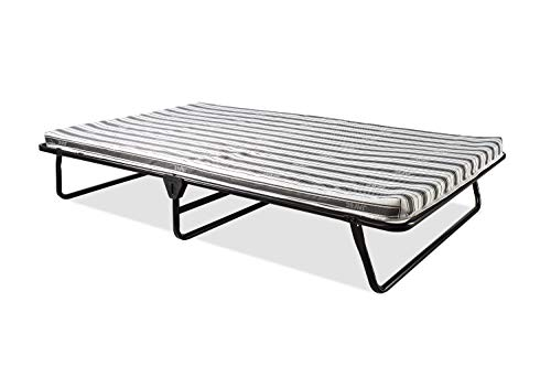 JAY-BE Folding Bed, Small Double, with Airflow Fibre Mattress Value-Faltbett mit atmungsaktiver Matratze, Metall, Schwarz, W122 x L186 cm