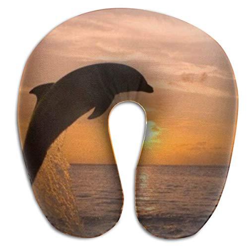 Hdadwy Almohada de Viaje en Forma de U, Espuma de Memoria, delfín Saltando al Atardecer, avión, Coche, autobús, Comodidad, Soporte para la Cabeza, Almohadas cervicales para el Cuello