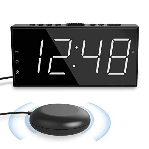 ROCAM Lauter Wecker für Tiefschläfer,Wecker mit Vibration LED für Hörgeschädigte&Gehörlose,7'' Großes Display und Dimmer,Doppelalarm,USB-Ladegerät,15 Stufen Alarmlautstärke,12/24H DST