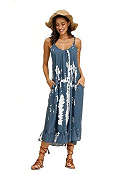 wexcen Women s V-Neck Floral Print Spaghetti Strap Boho Beach Long Maxi Summer Casual Dress with Pockets  Blue Grey M