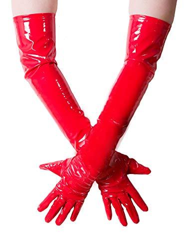 Guanti lunghi da donna in PVC, rosso destro, sexy fetish, taglia XL