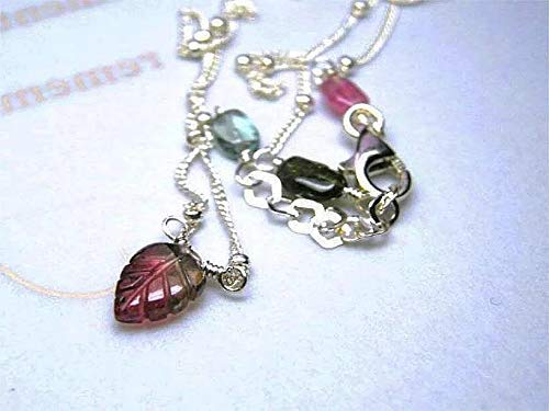 Watermelon Tourmaline Silver Necklace petite gem Leaf 16 inch all-Tourmaline Silver Necklace by Gem Bliss Jewelry